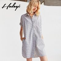 Oversized Vogue Simple Horizontal Stripped Summer Casual Short Sleeves Blouse Dress - Bonny YZOZO Boutique Store