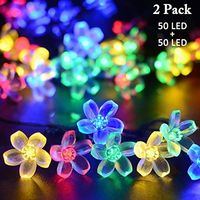 Vmanoo Solar Outdoor Christmas String Lights 21ft 50 LED Fairy Flower Blossom Decorative Light for Indoor Garden Patio Party Xmas Tree Decorations 2-PACK (Multi-color) $14.99