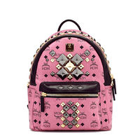 MCM Small Stark Brock Studded Backpack In Pink