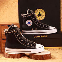 Rivets and Crosses Black Canvas High Chrome Hearts Shoes