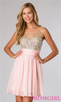 Jovani 21205 Short Beaded Sheer Homecoming Dress
