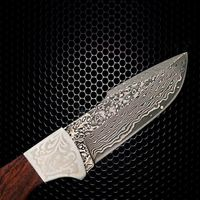 Hand Forged Hunting Knife Fixed Blade Damascus Knife Leather Scabbard wood handle $91.00