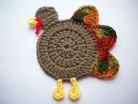 Gobble Coaster - part of a fantastic roundup of free crochet Thanksgiving patterns on mooglyblog.com