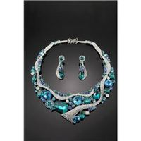 Handsome Alloy with Blue Rhinestone Wedding Jewelry Set Including Necklace and Earrings