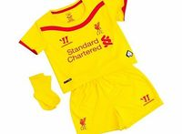 """Warrior Liverpool Away Baby Kit 2014/15 WSTB402 Liverpool Away Baby Kit 2014/15 YellowYour baby can be a red from birth in this Liverpool Baby away Kit. New for 2014/15, this yellow shirt, socks and shorts set tunes into the heart of LFC'""""'..."""
