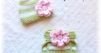 $21.95 Newborn Baby Crochet Pink Flower Hat & Diaper Cover Set Green and White Stripes