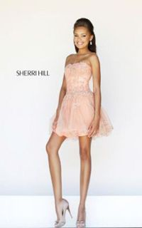 Nude Peach Strapless Embellished Dress by Sherri Hill 11062