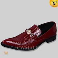 CWMALLS® Embossed Leather Loafers Shoes Red CW751011