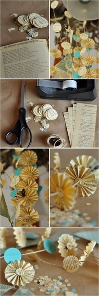 Create a vintage library feel with easy DIY garlands evoking a papered past. This gently tattered look can be used for photo booth backgrounds, hanging mobiles,