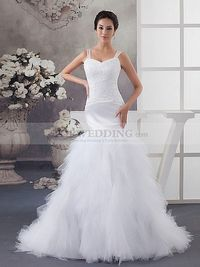 SHEER STRAPPED TULLE AND SATIN MERMAID WEDDING GOWN WITH FAIRY SKIRT