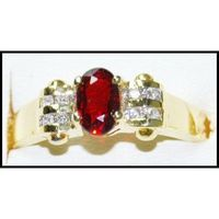 18K Yellow Gold Ruby Diamond Solitaire Jewelry Ring [RS0195]