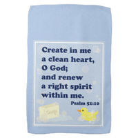 Squeaky Clean Rubber Duckie hand towel Psalm 51:10 Bible verse