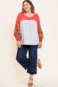 Floral Print Puff Sleeve Round Neck Heathered Top $31.51