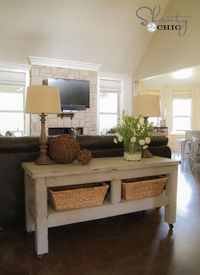 DIY Furniture : DIY Pottery Barn Inspired Console Table!