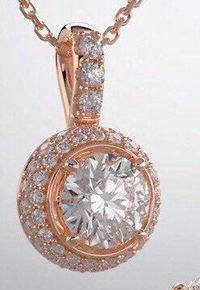 3/8 carats of natural diamonds 14K Rose gold 3.8 mm center Round Pendant Mounting $783.00