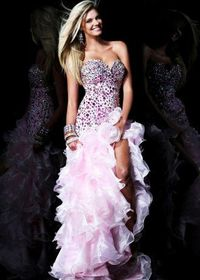 Pink High Low Sherri Hill 21127 Jeweled Ruffled Dress For Prom