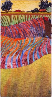 Over Hill and Dale, Interpreted by Mary Koenig - 32 x 17 x 2 inches Hand dyed and commercial fabric, painted, machine pieced, appliqued, machine quilted. When I finally met my long-time friend's new husband and walked into his studio, I was struck b...