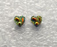 Handmade 10 mm Yellow Drusy Quartz Heart Magnetic Clip Non Pierced Earrings $20.00 Designed by LauraWilson.com