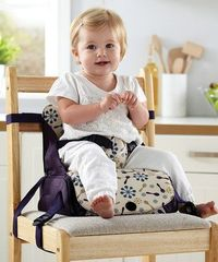 Purple Travel Booster Seat by Munchkin - it all folds up into a neat little pouch with storage compartments!