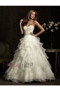 Sweetheart Sweep/Brush Train Organza Applique Beading Ball Gown Wedding Dresses