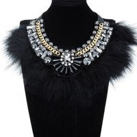 Fashion Jewelry Chain Feather Crystal Black Glass Chunky Choker Statement Bib Necklace