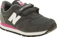 New Balance Grey 420 Girls Junior Retro running vibes arrive in the form of the New Balance 420 as it gets downsized for kids. This lightweight trainer features a grey suede upper with girly pink accents complimenting. Hook-and-loop f http://www.comparest...