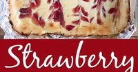 These Strawberry Cheesecake Bars are so easy to make and perfect for taking to a party or potluck. Rich creamy homemade cheesecake with a swirl of sweet strawbe