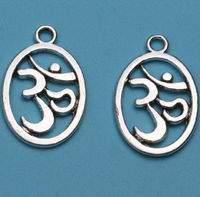 Pack of 5 Silver Coloured Oval Om Charms 14mm x 19mm Meditation Hindu Buddhist Pendants. £3.59