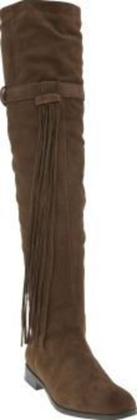 Schuh Brown Alain Womens Boots Saddle up ladies, the schuh Alain is in town and it means business. Arriving in brown suede, this over-the-knee boot features gold buckle detailing and tassel embellishment for an equestrian-inspired http://www.comparestorep...