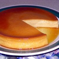 """SPANISH FLAN for a 9"""" round pan ... 1 C white sugar. 3 eggs. 1 (14 oz) can sweetened condensed milk. 1 (12 fluid oz) can evaporated milk. 1 T vanilla extract. Love this stuff! TOP-RATED recipe by 435 bakers at Allrecipes.com. Simple r..."""