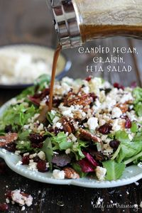 Pecan, Craisin, Feta Salad with Creamy Balsamic Vinaigrette. I would not candy the pecans, just toast them