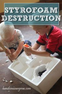 Got some Styrofoam from a package? Add some tools (real tools!) to some good old Styrofoam and let the kids have a blast destructing it.