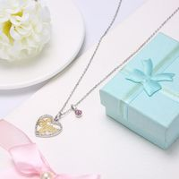 18/5000 S925 STERLING SILVER CRYSTAL HEART PENDANT NECKLACE