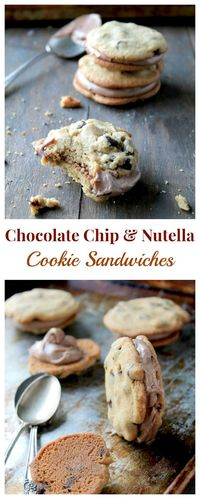Chocolate Chip Cookie Sandwiches with Nutella Cream Cheese Filling   www.diethood.com   #nutella #chocolatechipcookies #recipe
