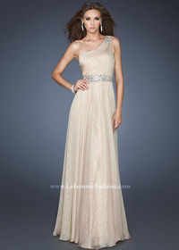 Nude Pleated One Shoulder Chiffon Overlay Sequined Evening Dress