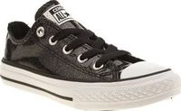 Converse Black All Star Ox Glitter Girls Junior Your little star can steal the show in the Converse All Star Ox Glitter for kids. The glossy black man-made upper features a glittery finish, joined with classic mono branding at the tongue and heel. http://...