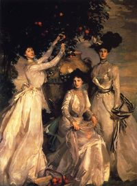 """The Acheson Sisters"", (oil on canvas, c.1902). By: American Gilded Age portrait painter, and watercolorist: John Singer Sargent, (1856 -1925). ~ {cwlyons} ~ (Image/art collection/and location of painting: Chatsworth House - ..."