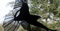 Stained Glass Raven, Stained Glass Bird, Raven Art, Gothic, Crow, Stained Glass Window Panel by BerlinGlass on Etsy