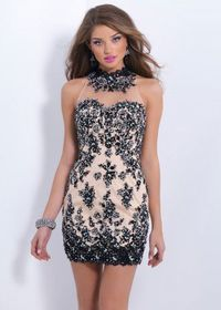 Black Halter Neck Lace Beaded Open Back Short Cocktail Dress