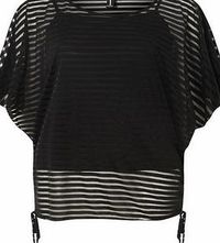 Dorothy Perkins Womens Izabel London Black Sheer Stripe Batwing Black see through top. Batwing sleeves drawstring waist detailing. Rounded neckline. 68cm 80% Polyester,20% Cotton. Cold gentle machine wash. Do not dry clean. http://www.comparestore...