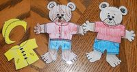 Weather Bear (Laminate these and put magnets on the back with different clothes for the bear to wear and an umbrella or snow shovel and the kids can dress the bear throughout the day on the side of the fridge or to a painted cookie sheet)