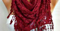 ON SALE Burgundy Lace Scarf Shawl Scarf Women Scarves by anils, $17.91