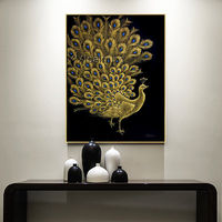 Abstract painting on canvas Original Peacock decor Gold art Animal acrylic scrape painting Wall Picture home decor $298.00