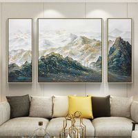 3 pieces Wall Art Gold Art mountains Peaks Modern landscape Gold birds abstract Painting on canvas Original wall Pictures cuadros abstractos $292.94
