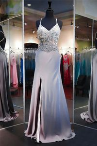 Sheath High Slit Silver Satin Beaded Prom Dress Criss Cross Straps
