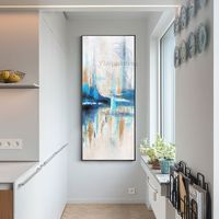 Modern Abstract Gold Painting acrylic paintings on Canvas blue white heavy texture Original painting extra large Wall Pictures hand painted $139.00