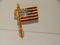 Gold Tone Sparkling Glass Stones Flag Brooch. $35.00
