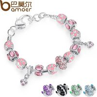 Silver Charm Bracelet for Women With Pink Crystal Murano Glass Beads PA1400 R349.60