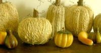 "Wrap your old Styrofoam pumpkins in jute and top with a stick ""stem"" to create a whole new look!"