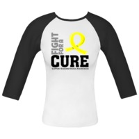 Fight For a Cure Endometriosis Fitted Raglan T-Shirts featuring a yellow awareness ribbon to help raise attention to this important cause